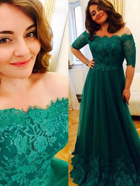 A-Line Tulle Off-the-Shoulder Applique Floor-Length Plus Size Prom Dresses