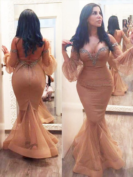 Mermaid Silk like Satin Off-the-shoulder Beading Floor-Length Plus Size Prom Dresses