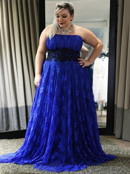 A-Line Strapless Lace Applique Floor-Length Plus Size Prom Dresses