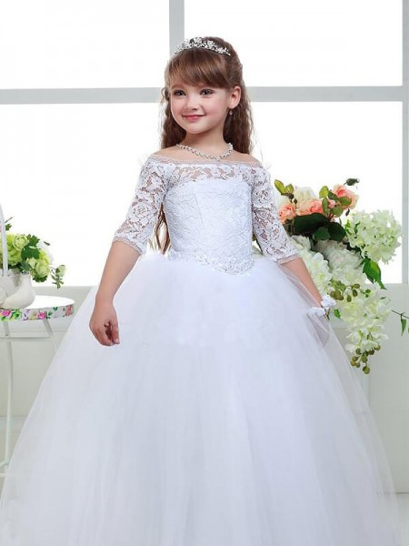 Off-the-Shoulder Lace Floor-Length Tulle Ball Gown Flower Girl Dresses