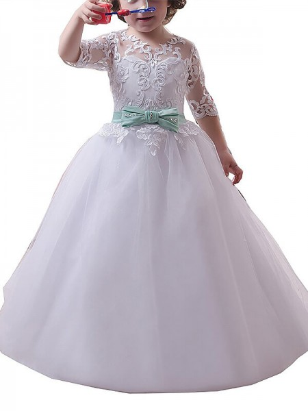Jewel Lace Floor-Length Tulle Ball Gown Flower Girl Dresses