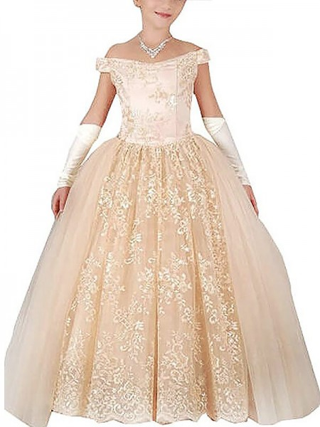 Off-the-Shoulder Applique Floor-Length Tulle Ball Gown Flower Girl Dresses