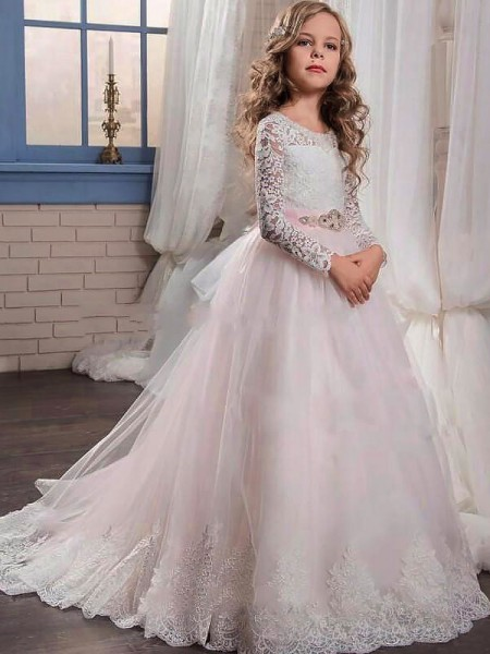 Jewel Lace Sweep Train Tulle Ball Gown Flower Girl Dresses