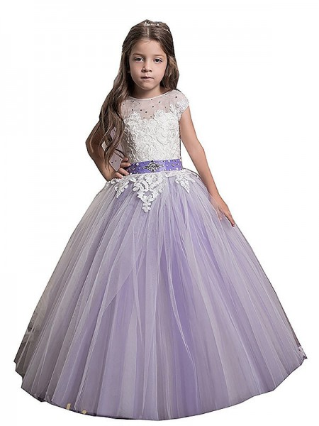 Jewel Applique Floor-Length Tulle Ball Gown Flower Girl Dresses
