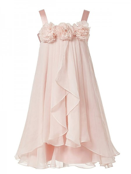 A-Line Straps Hand-Made Flower Chiffon Ankle-Length Flower Girl Dresses