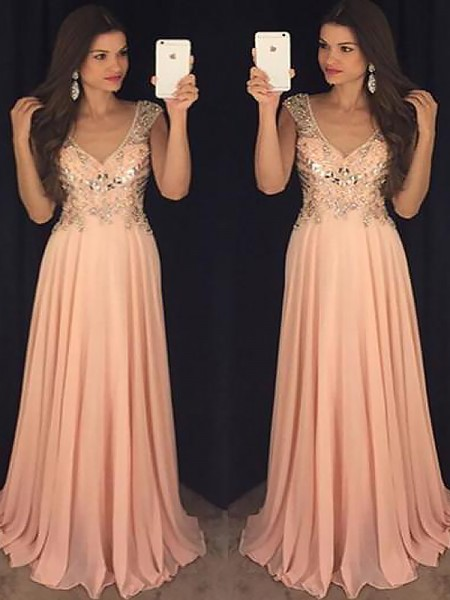 A-Line V-neck Chiffon Paillette Floor-Length Prom Dresses