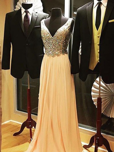 A-Line V-neck Chiffon Beading Sweep/Brush Train Prom Dresses