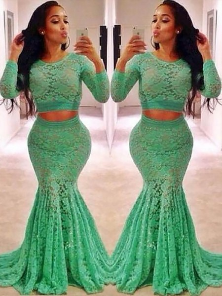Mermaid Scoop Lace Ruffles Sweep/Brush Train Two Piece Prom Dresses