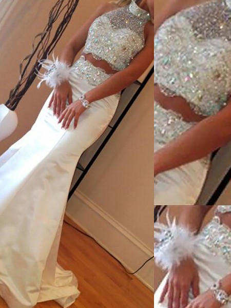 Mermaid High Neck Satin Beading Sweep/Brush Train Two Piece Prom Dresses