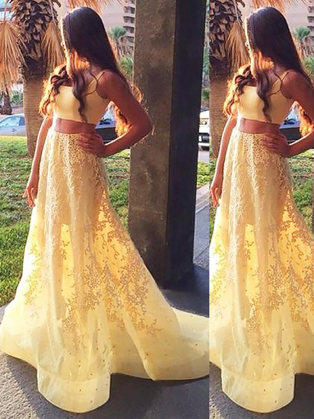 A-Line Square Satin Sweep/Brush Train Applique Two Piece Prom Dresses