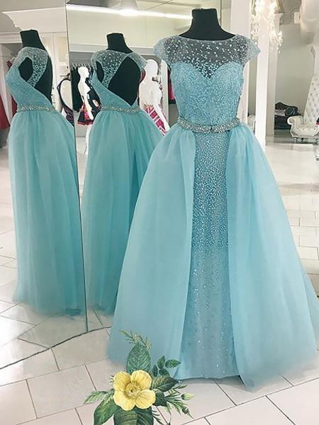 Ball Gown Bateau Beading Floor-Length Tulle Prom Dresses