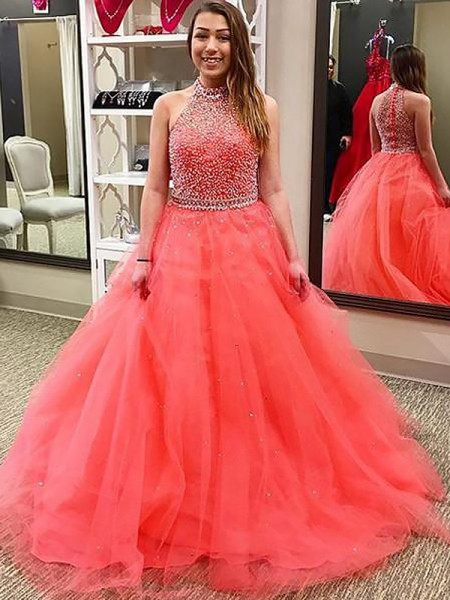 Ball Gown Halter Beading Floor-Length Tulle Prom Dresses