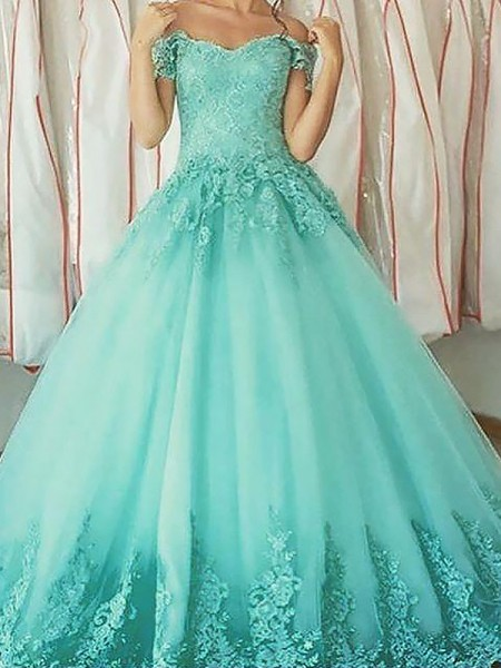Ball Gown Off-the-Shoulder Applique Floor-Length Tulle Prom Dresses