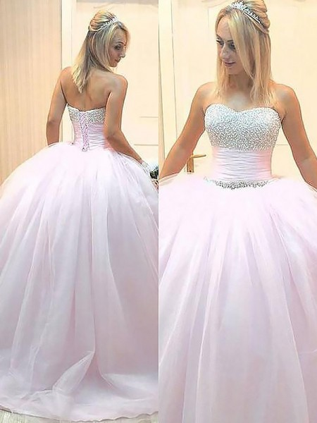 Ball Gown Sweetheart Beading Floor-Length Tulle Prom Dresses