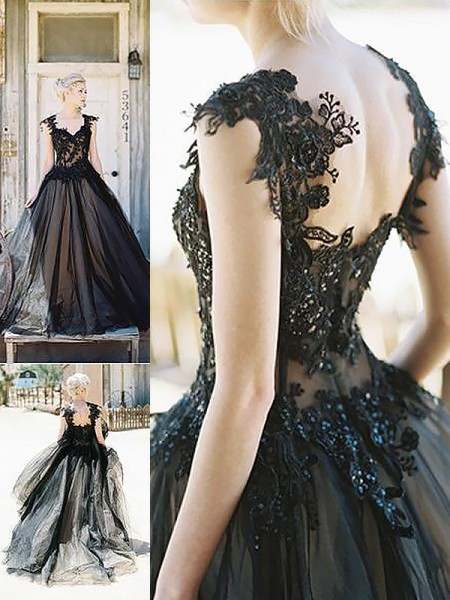 Ball Gown Sweetheart Lace Sweep/Brush Train Tulle Prom Dresses