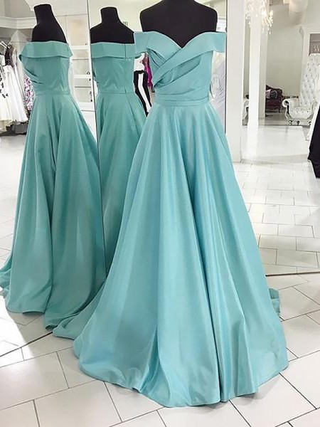 A-Line Off-the-Shoulder Sweep/Brush Train Ruched Satin Prom Dresses
