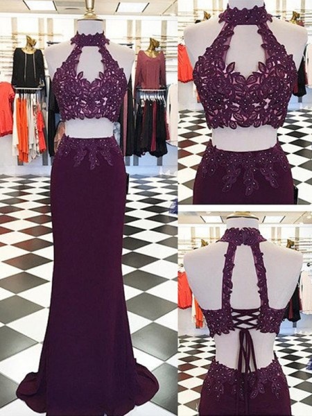 Sheath Halter Applique Floor-Length Chiffon Two Piece Prom Dresses
