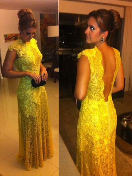 A-Line Lace High Neck Floor-Length Prom Dresses