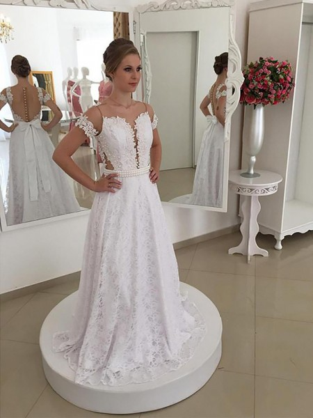 A-Line Scoop Lace Sweep/Brush Train Ball Gown Wedding Dresses