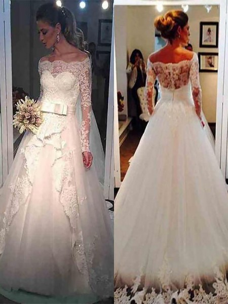 Tulle Off-the-Shoulder Sweep/Brush Train Ball Gown Wedding Dresses