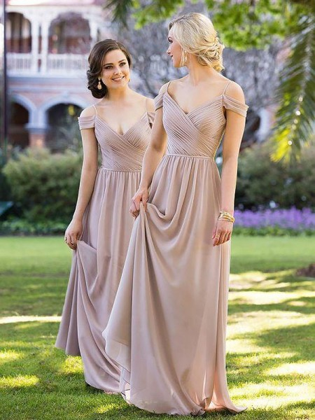 A-Line Chiffon Spaghetti Straps Floor-Length Bridesmaid Dresses