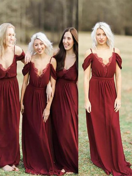 A-Line Spaghetti Straps Floor-Length Lace Chiffon Bridesmaid Dresses