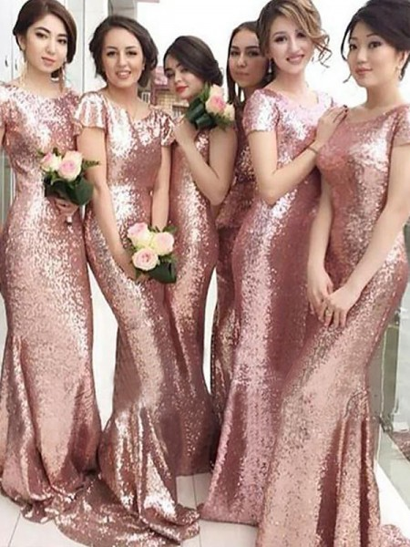 Sheath Sequins Scoop Sweep/Brush Train Bridesmaid Dresses