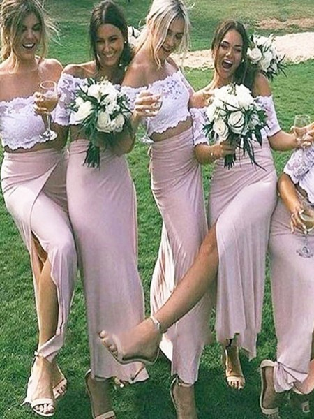 Sheath Jersey Off-the-Shoulder Floor-Length Bridesmaid Dresses