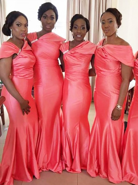 Mermaid Off-the-Shoulder Floor-Length Satin Bridesmaid Dresses