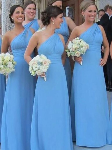 Sheath One-Shoulder Chiffon Floor-Length Bridesmaid Dresses
