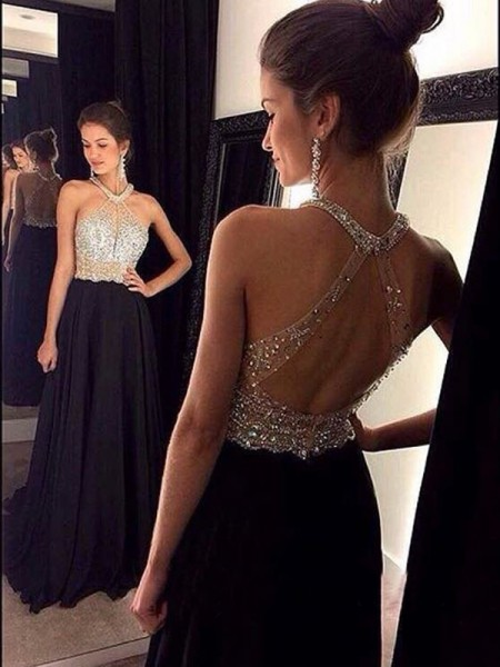 A-Line Halter Beading Chiffon Sweep/Brush Train Prom Dresses