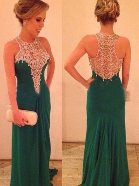 Sheath Scoop Beading Sweep/Brush Train Chiffon Prom Dresses