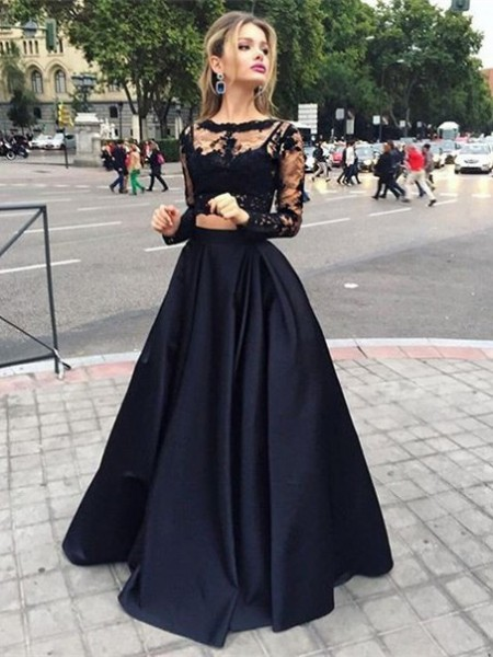 Bateau Satin Floor-Length Ball Gown Prom Dresses