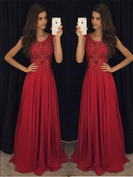 A-Line Scoop Chiffon Beading Floor-Length Prom Dresses