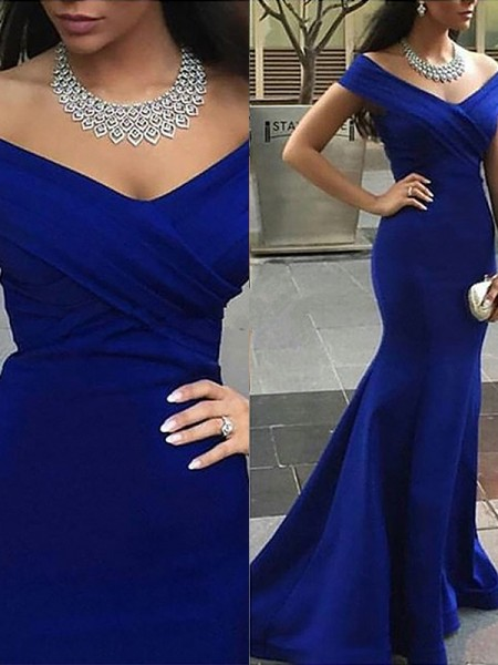 Mermaid Off-the-Shoulder Satin Sweep/Brush Train Prom Dresses
