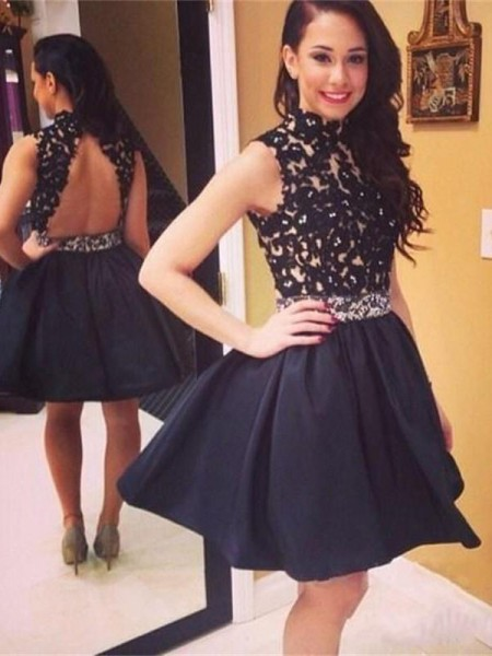 A-Line High Neck Taffeta Lace Short/Mini Homecoming Dresses