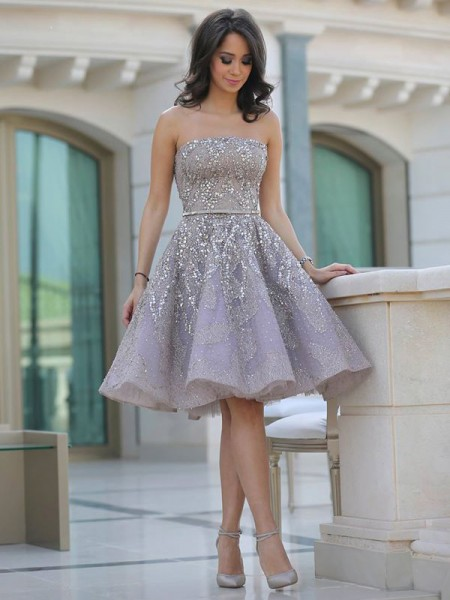 A-Line Strapless Sequin Knee-Length Satin Homecoming Dresses