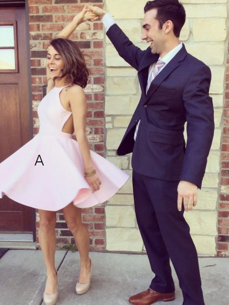 A-Line Halter Short/Mini Satin Homecoming Dresses