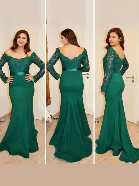 Mermaid Off-the-Shoulder Applique Floor-Length Satin Prom Dresses