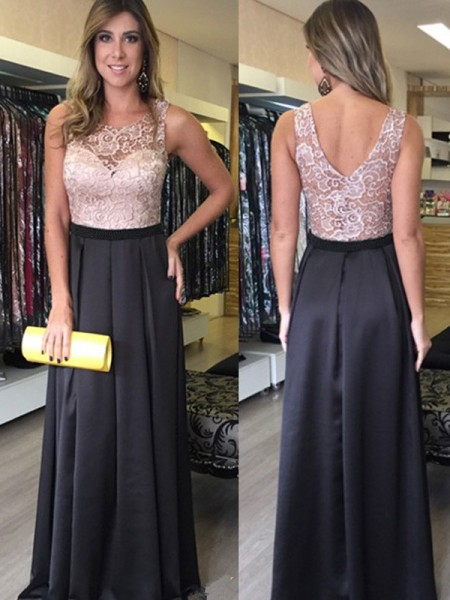 A-Line Scoop Lace Floor-Length Satin Prom Dresses