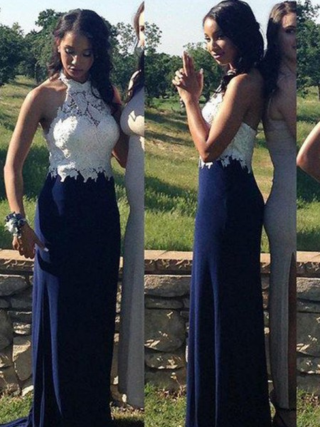 Sheath Halter Floor-Length Chiffon Lace Prom Dresses