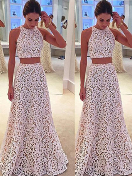A-Line Scoop Floor-Length Lace Prom Dresses