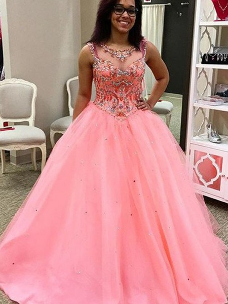Sweetheart Tulle Beading Floor-Length Ball Gown Prom Dresses