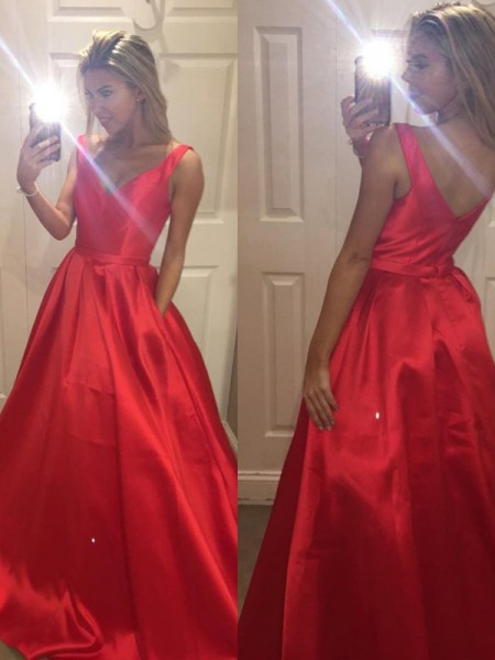 A-Line V-Neck Satin Sweep/Brush Train Prom Dresses