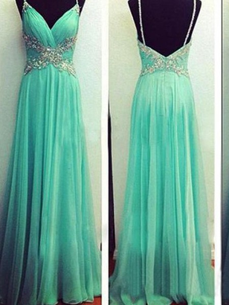 A-Line Spaghetti Straps Beading Floor-Length Chiffon Prom Dresses