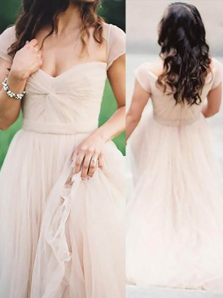 A-Line Sweetheart Floor-Length Ruched Chiffon Prom Dresses