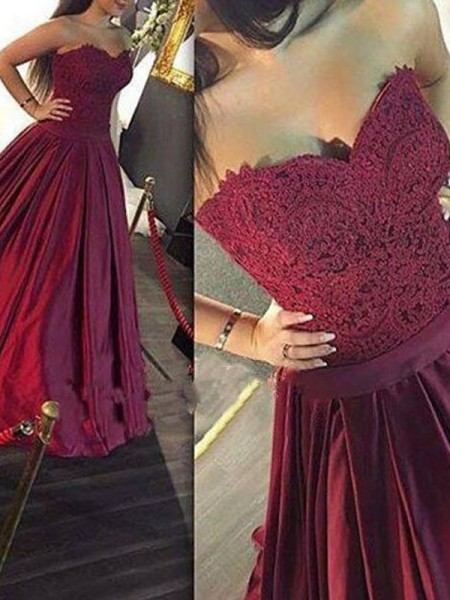 A-Line Sweetheart Lace Satin Floor-Length Prom Dresses