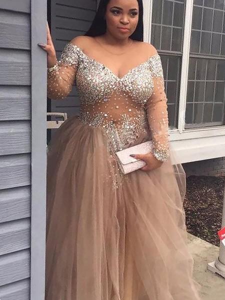 Off-the-Shoulder Sequin Tulle Floor-Length Ball Gown Prom Dresses