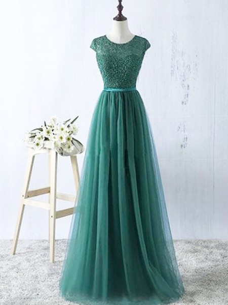 A-Line Scoop Tulle Floor-Length Prom Dresses