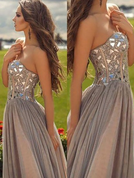 A-Line Sweetheart Chiffon Beading Floor-Length Prom Dresses